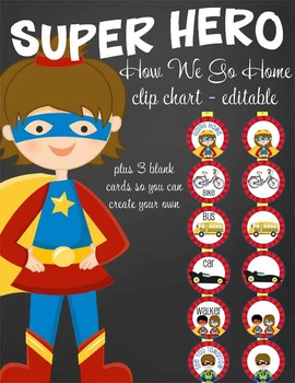 SUPER HERO - Classroom Decor: How We Go Home clip chart editable