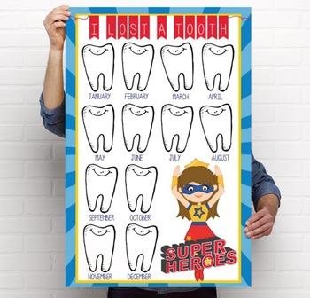 SUPER HERO - Classroom Decor: I lost a TOOTH - size 24 x 36