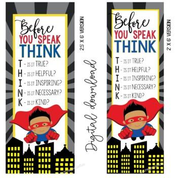 SUPER HERO - Classroom Decor: LARGE BANNER, Before You Speak, Boy A