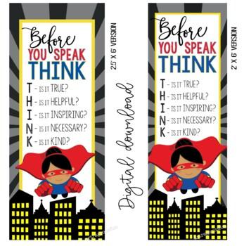 SUPER HERO - Classroom Decor: LARGE BANNER, Before You Speak