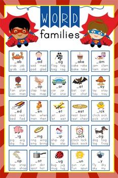 SUPER HERO - Classroom Decor: Language Arts, Word Families