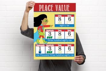 SUPER HERO - Classroom Decor: Place Value Chart - size 18 x 24