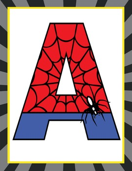 picture regarding Superhero Letters Printable identified as Tremendous HERO - Clroom Decor: SPIDERMAN Banner LETTERS