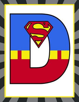 SUPER HERO - Classroom Decor: SUPERMAN Banner LETTERS