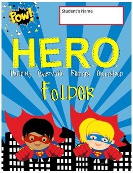 SUPER HERO - Classroom Decor : Student FOLDER Cover - FREE