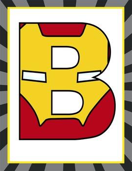 SUPER HERO - Classroom Decor: Superhero Banner LETTERS - BUNDLE -