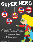 SUPER HERO - Classroom Decor: Superman Theme Table Numbers and Signs