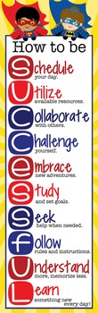 SUPER HERO - Classroom Decor: X-LARGE BANNER, How to be SUCCESSFUL