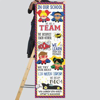 SUPER HERO - Classroom Decor :  XLARGE  BANNER - In Our School
