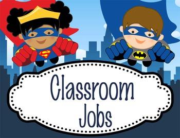 SUPER HERO - Classroom Helpers JOBS clip chart