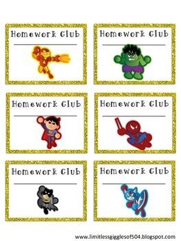 SUPER HERO Homework and Communication Folder Labels