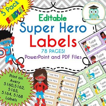 BUNDLE SUPER HERO Labels Classroom Notebook Folder Name Tags (Editable)