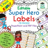 SUPER HERO Labels Bundle (Editable 5160, 5162, 5163, 5164, 5168)