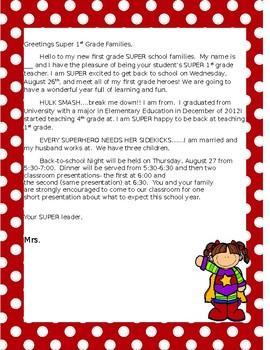 SUPER HERO Letter from Teacher