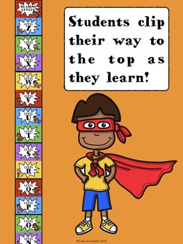 SUPER HERO READING LEVELS Clip Chart Tracker