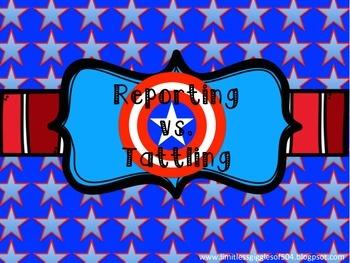 SUPER HERO Reporting vs Tattling Poster