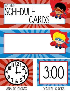 SUPER HERO - Schedule Cards, EDITABLE