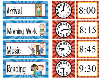 SUPER HERO - Schedule Cards / editable MS WORD / Illustrated