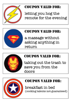 SUPER HERO dad coupons with steps to make card (color version)