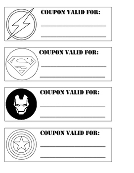 SUPER HERO dad coupons with steps to make card (black and white)