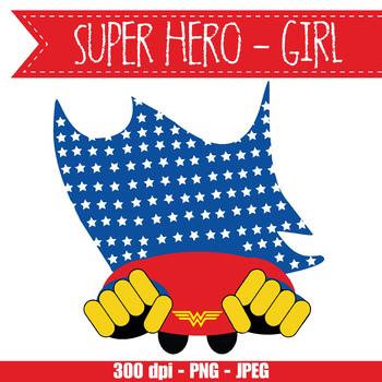 SUPER HERO girl - CUTOUTS, bulletin board, classroom decor, printable, craft