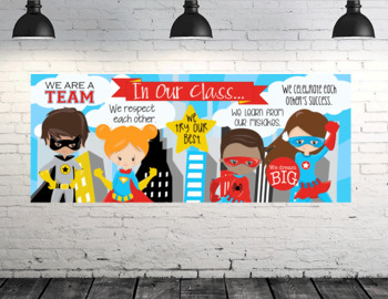 SUPER HERO kids - Class Decor: LARGE BANNER, In Our Class - horizontal