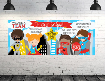 SUPER HERO kids - Class Decor: LARGE BANNER, In Our School - horizontal