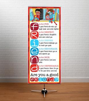 SUPER HERO kids - Classroom Decor: LARGE BANNER, FRIENDS