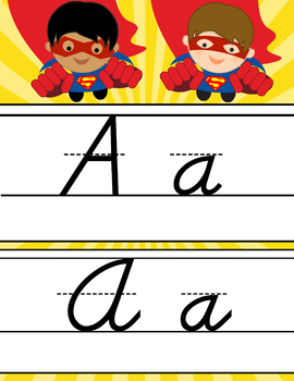 SUPER HERO theme - Alphabet Cards, Handwriting, D'Nealian manuscript, Cursive