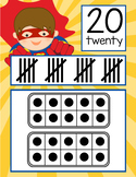 SUPER HERO theme - Number Banner, 0 to 20, Illustrated, ten frames, tally marks