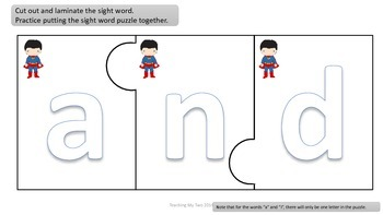 SUPER HEROES Pre-Primer Sight word READING UNIT 1