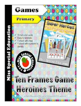 SUPER HEROES - Ten Frames Game for PreK, Kindergarten, First Grade, Homeschool,