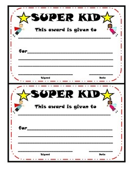 SUPER KID Certificate
