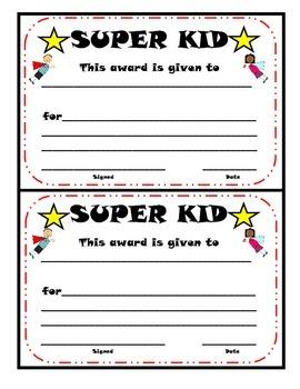 SUPER KID Certificate