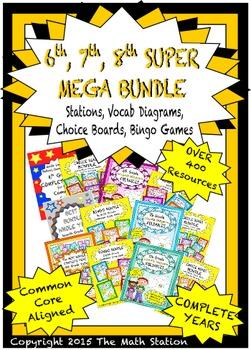 SUPER MEGA BUNDLE 6th 7th 8th Math Stations, ChoiceBoards, Vocab Diagrams, Bingo