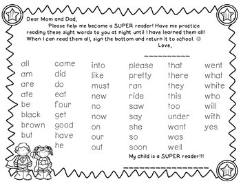 SUPER Reader Sight Word Lists