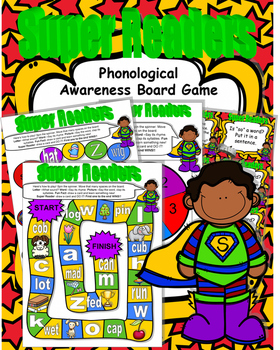 Back to School SUPER Readers! Phonological Awareness Board Game