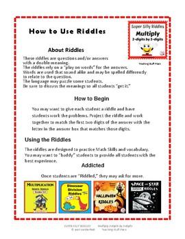 MULTIPLY 2-digits x 2-digits SUPER SILLY RIDDLES ... Grade 4 MATH Problems