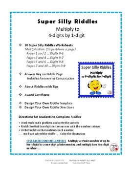 SUPER SILLY RIDDLES   4-digits x 1-digit ...  Grade 4 MATH Problems