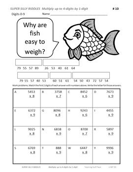SUPER SILLY RIDDLES BUNDLE ...  Grade 4 MATH Worksheets $$$ 4 Decks