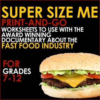 Super Size Me Print Go Worksheets For Analysis Of The Fast Food