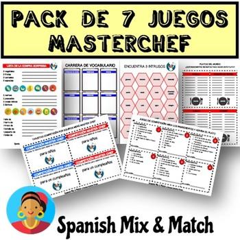 SUPER PACK DE JUEGOS DE COMPETICIÓN MASTERCHEF: vocabulario de comida y recetas
