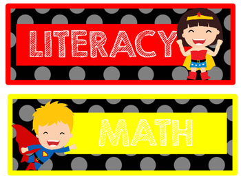 SUPERHERO WORD WALL/ DAILY 5 LITERACY AND MATH COMBO