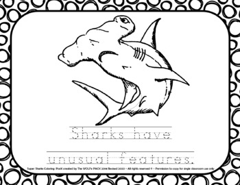SUPER Sharks Coloring Pages with Traceable Sentences FREE Shark Week Fun