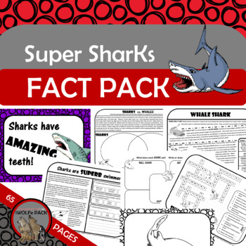 SHARKS Fact Pack Reading Passages Informational Text Writing Fact Posters