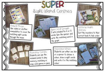 SUPER Sight Word Centres: Set #2 CAN, YOU, SEE, MY, A, ARE