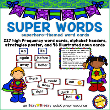 SUPER WORD CARDS high-frequency words