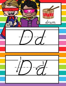 SUPER kids - Alphabet Cards, Handwriting, D'Nealian, ABC cards with pictures