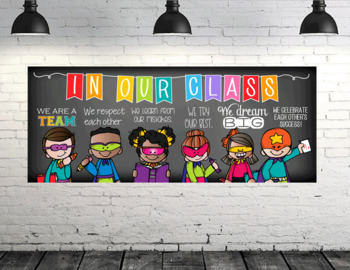 SUPER kids - Classroom Decor: LARGE BANNER, In Our Class - horizontal