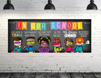 SUPER kids - Classroom Decor: LARGE BANNER, In Our School - horizontal